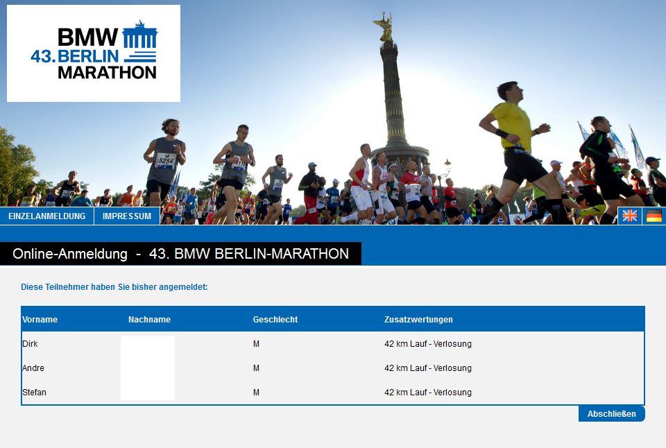 Berlin Marathon – Wir sind im Lostopf